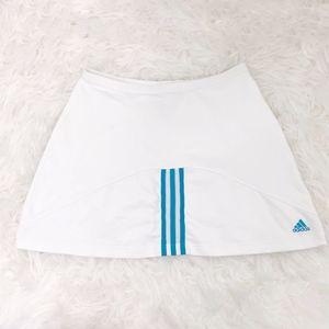 Adidas ClimaLite White Tennis Skirt Blue Stripe
